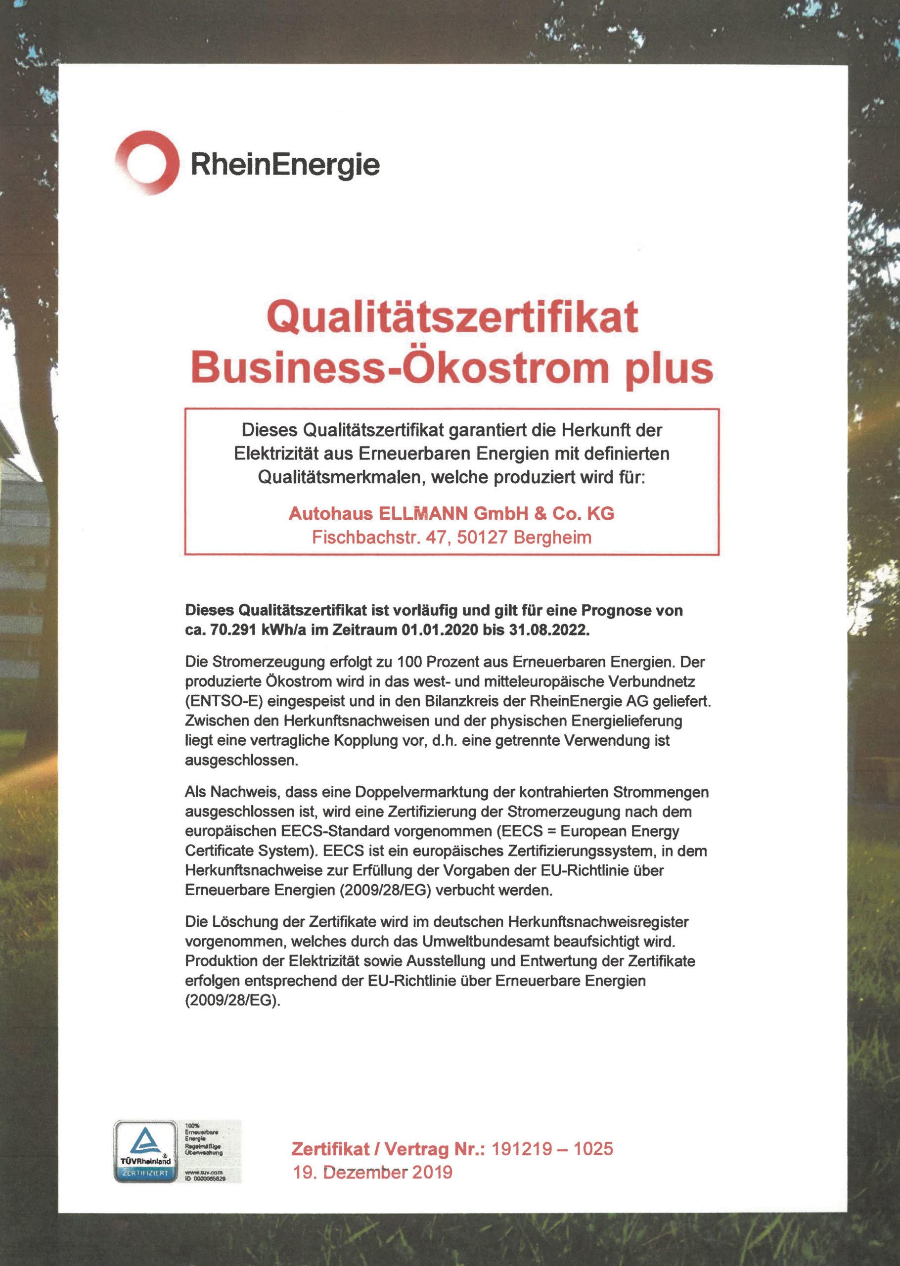 Qualitätszertifikat Business-Ökostrim plus